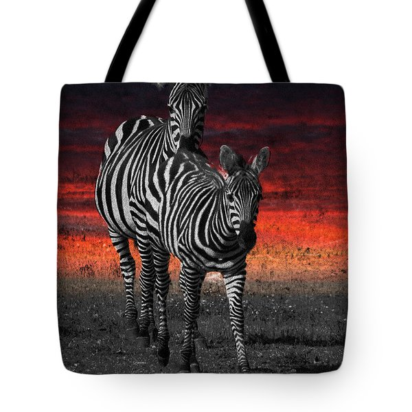 Zebra Train - Featured In Nature Photography - Wildlife And A Place For All Groups Tote Bag by EricaMaxine  Price