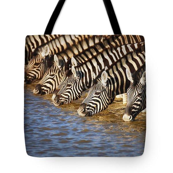 Zebras Drinking Tote Bag by Johan Swanepoel
