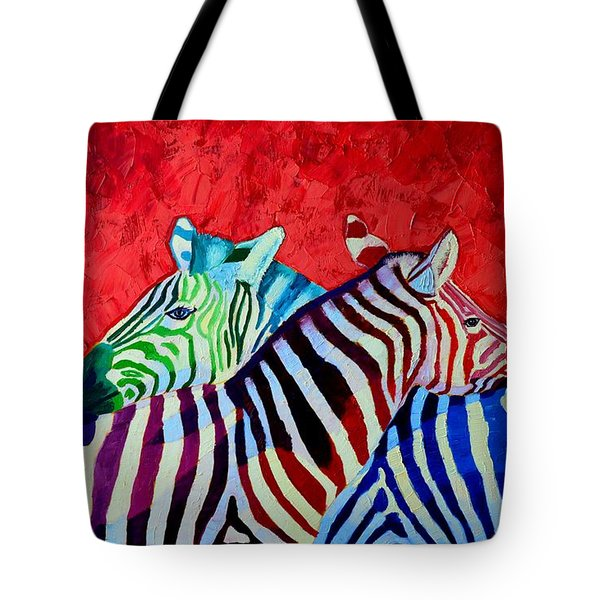 Zebras In Love  Tote Bag by Ana Maria Edulescu
