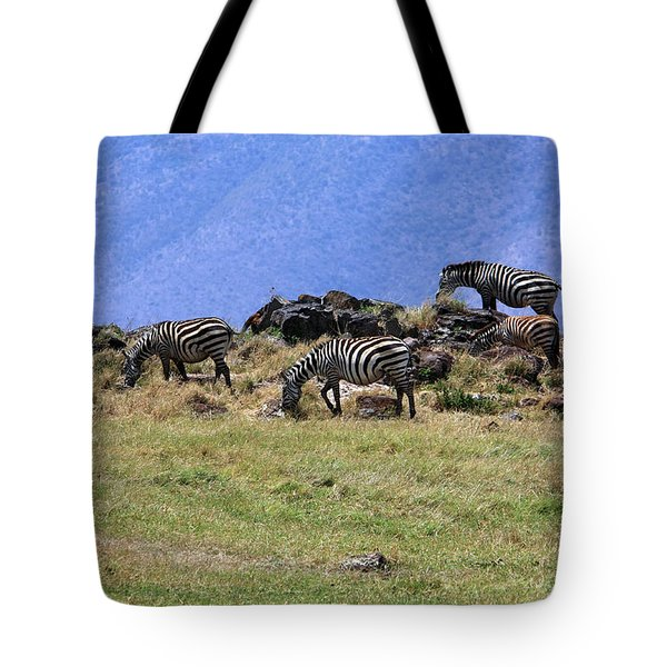 Zebras In The Ngorongoro Crater Tanzania Tote Bag by Aidan Moran