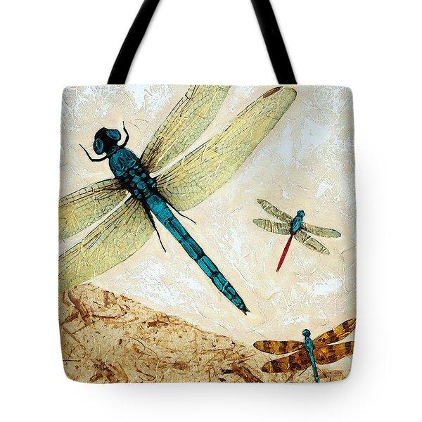 Zen Flight - Dragonfly Art By Sharon Cummings Tote Bag by Sharon Cummings