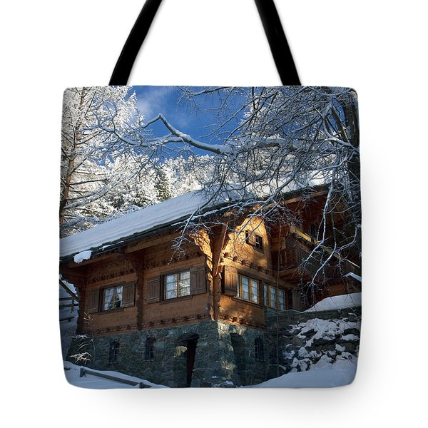 Zermatt Chalet Tote Bag by Brian Jannsen