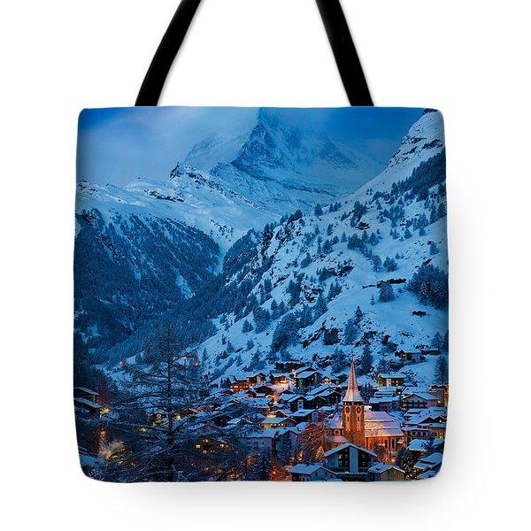 Zermatt - Winter's Night Tote Bag by Brian Jannsen