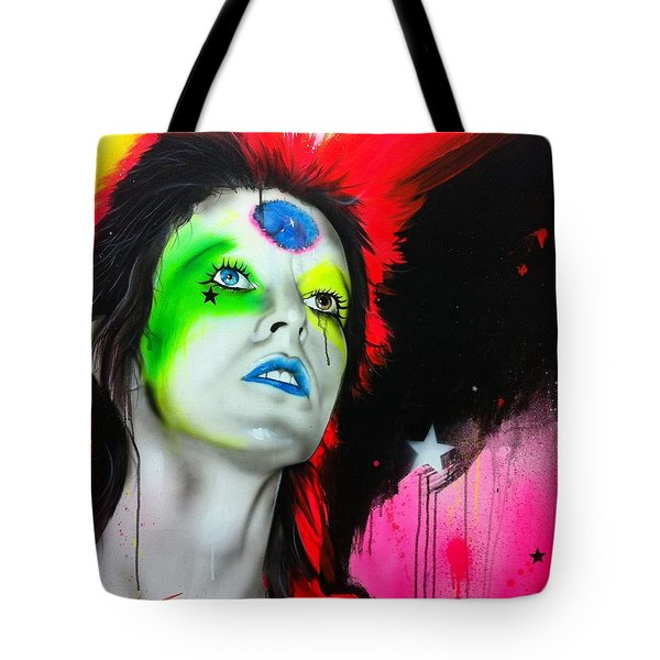 'ziggy Played Guitar' Tote Bag by Christian Chapman Art
