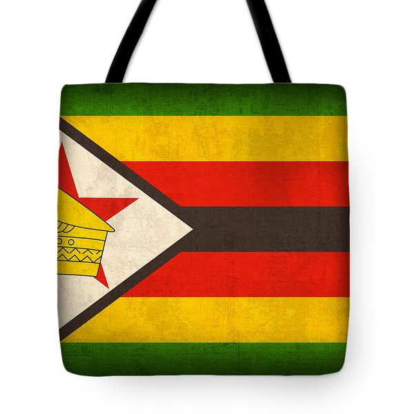 Zimbabwe Flag Distressed Vintage Finish Tote Bag by Design Turnpike
