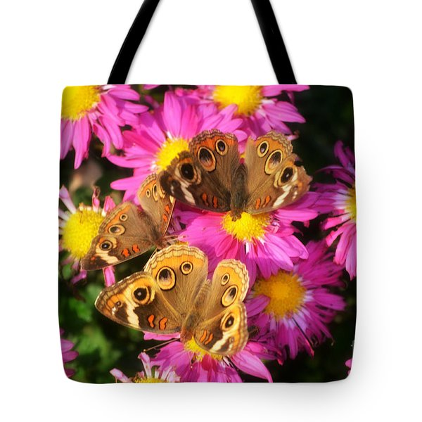 3 Beauty's Butterflies On Mum Flowers Tote Bag by Peggy  Franz