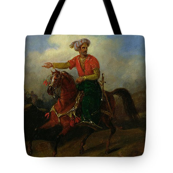 An Ottoman On Horseback  Tote Bag by Charles Bellier