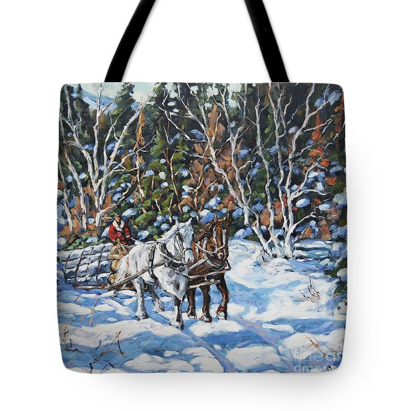 Horses Hauling Wood In Winter By Prankearts Tote Bag by Richard T Pranke
