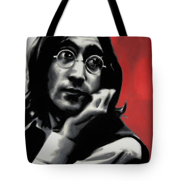 - Imagine - Red Detail - Tote Bag by Luis Ludzska