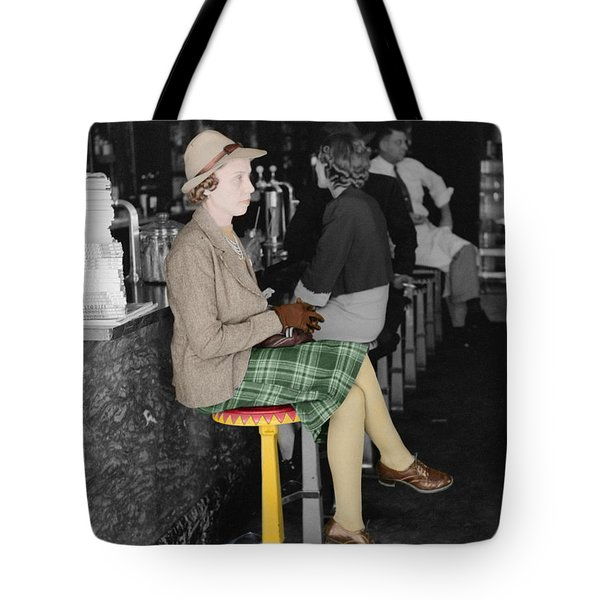 Lady In A Diner Tote Bag by Andrew Fare