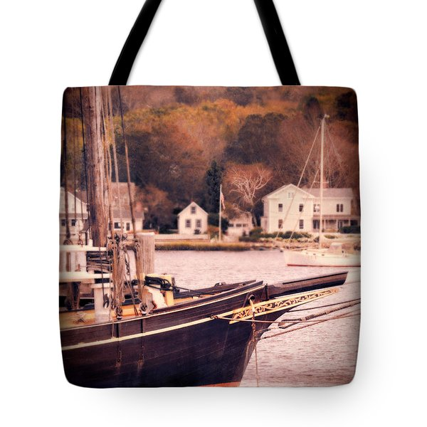 Old Ship Docked On The River Tote Bag by Jill Battaglia