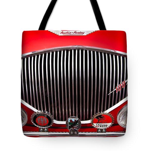1955 Austin Healey 100-4 Tote Bag by David Patterson