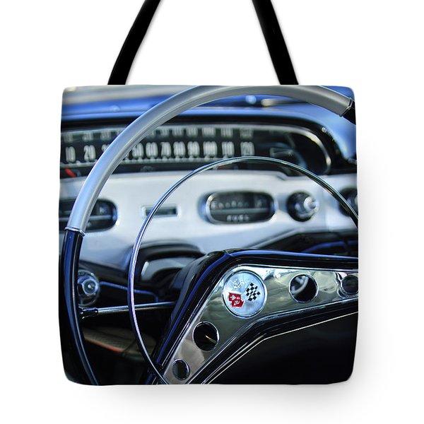 1958 Chevrolet Impala Steering Wheel Tote Bag by Jill Reger