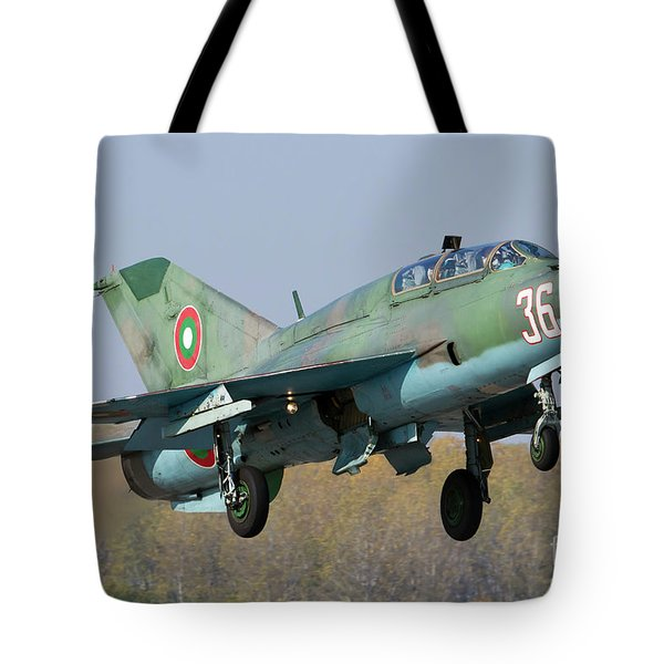 A Bulgarian Air Force Mig-21um Jet Tote Bag by Anton Balakchiev