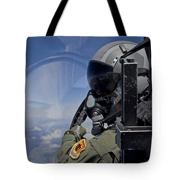 A F-15 Pilot  Looks Over At His Wingman Tote Bag by HIGH-G Productions