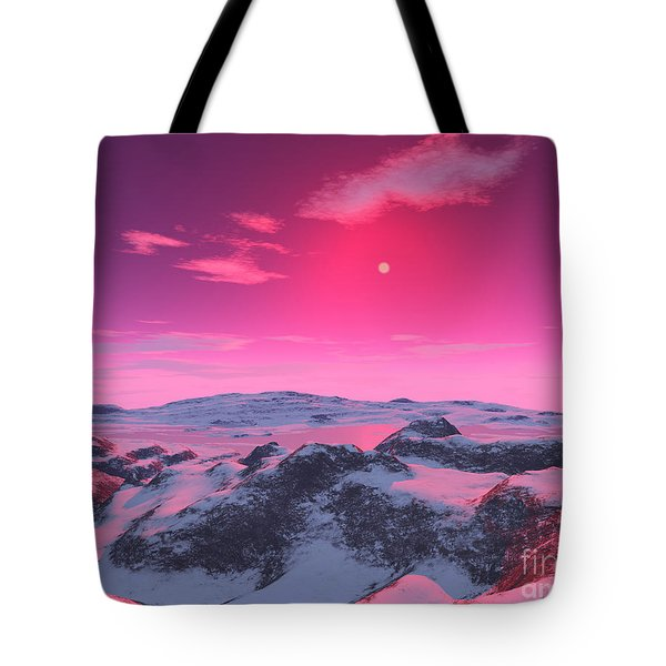 A Hypothetical Planet Orbiting A Red Tote Bag by Ron Miller