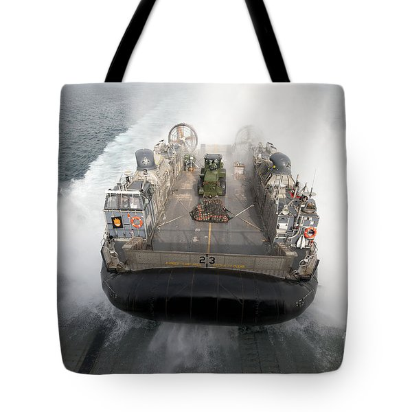 A Landing Craft Air Cushion Enters Tote Bag by Stocktrek Images