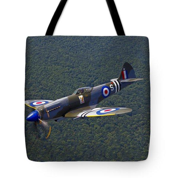 A Supermarine Spitfire Mk-18 In Flight Tote Bag by Scott Germain