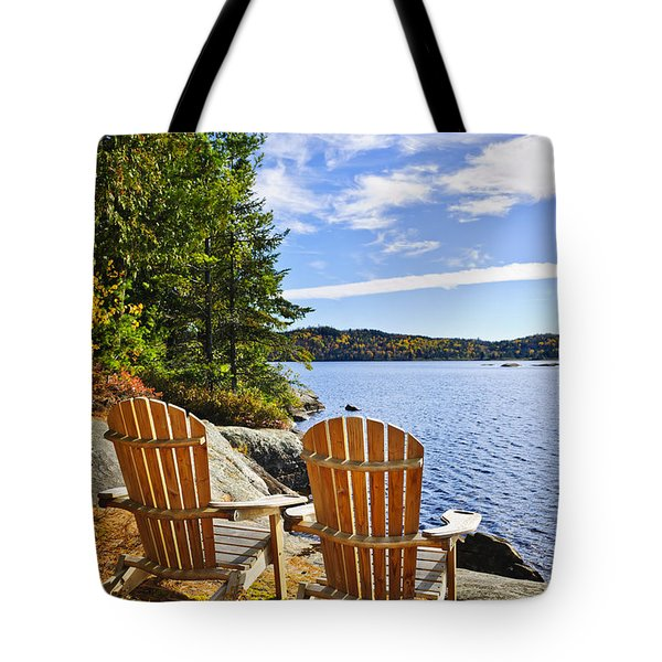 Adirondack chairs at lake shore Tote Bag by Elena Elisseeva