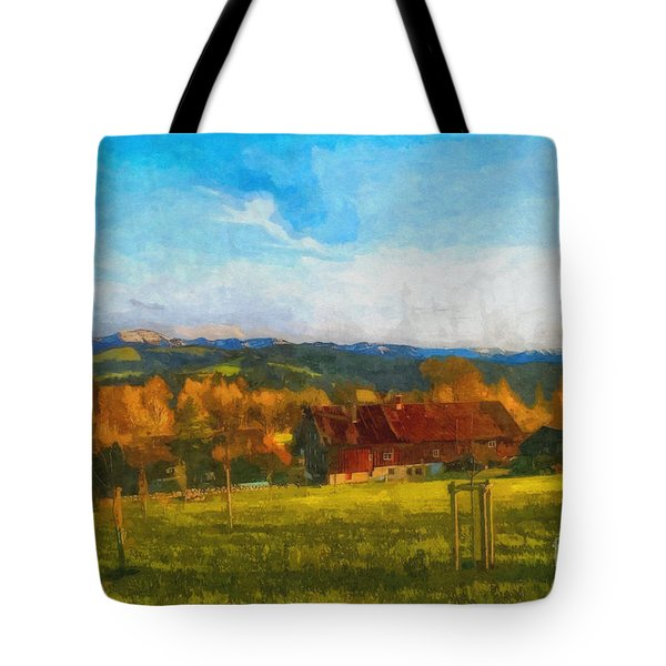 Alpine View Tote Bag by Jutta Maria Pusl