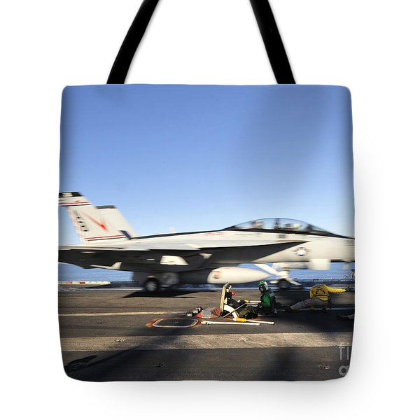 An Fa-18f Super Hornet Launches Tote Bag by Stocktrek Images