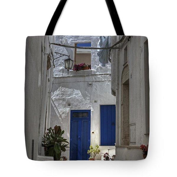 Apulia - Blue-white Tote Bag by Joana Kruse