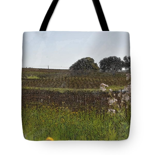 Beautiful California Vineyard Framed With Flowers Tote Bag by Brandon Bourdages