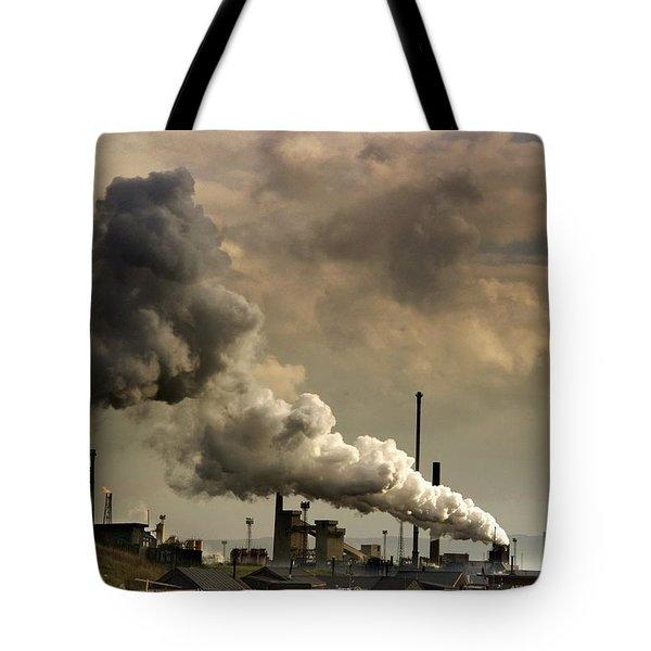Black Smoke Emitting From Factory Tote Bag by John Short