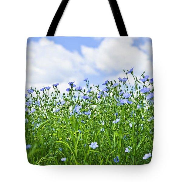 Blooming flax field Tote Bag by Elena Elisseeva