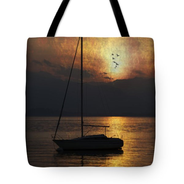 boat in sunset Tote Bag by Joana Kruse