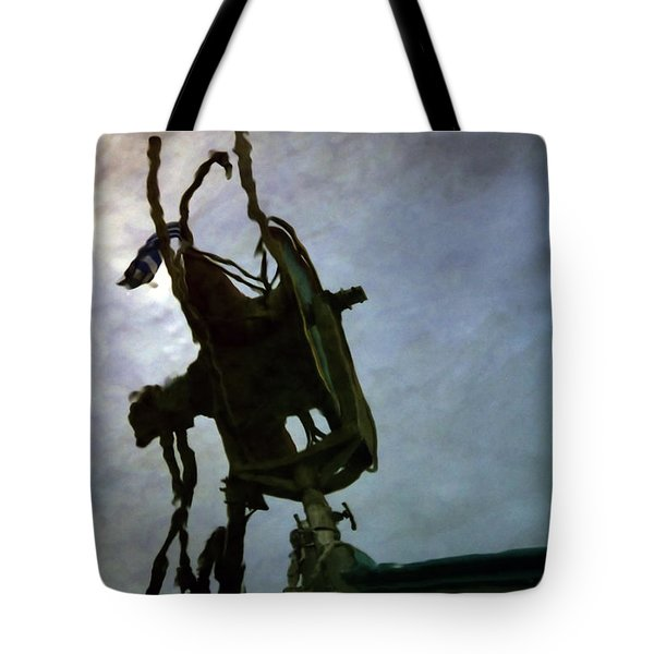 boat reflections in oily sea Tote Bag by Stylianos Kleanthous