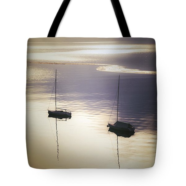 boats in mist Tote Bag by Joana Kruse