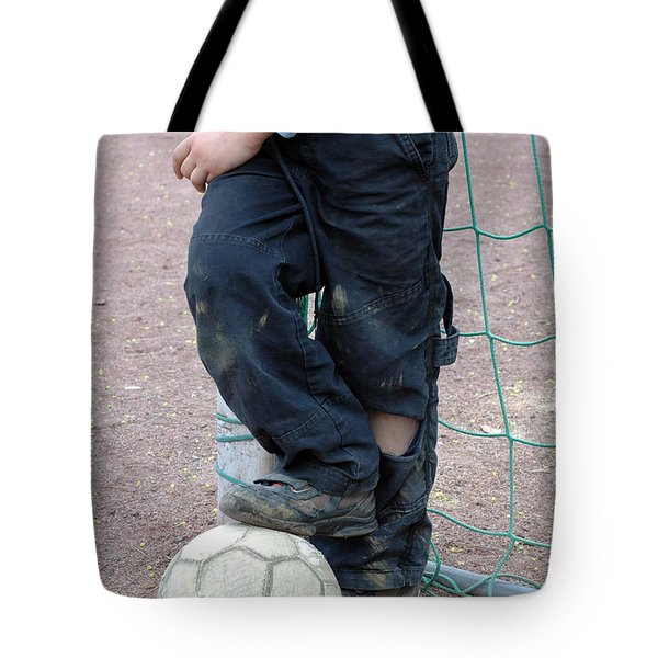 Boy With Soccer Ball Tote Bag by Matthias Hauser