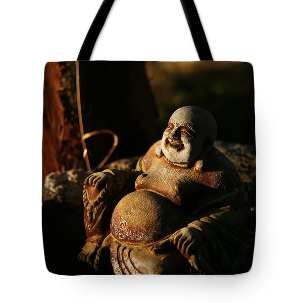 Buddha Of The Forest Tote Bag by Lorraine Devon Wilke