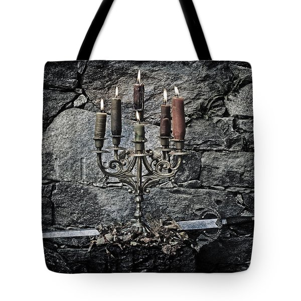 candle holder and sword Tote Bag by Joana Kruse