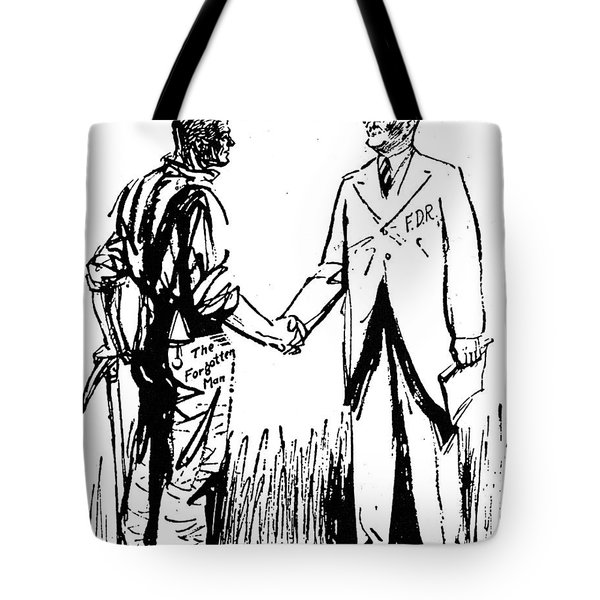 Cartoon: Fdr & Workingmen Tote Bag by Granger