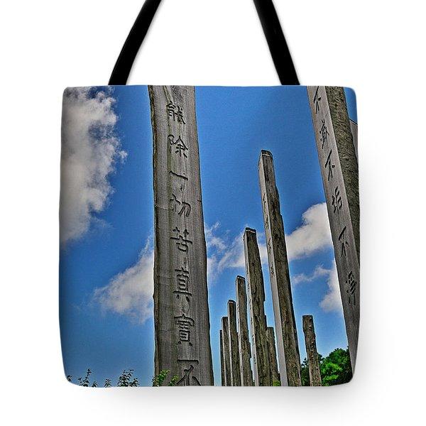 Carvings Of Buddhist Teachings Tote Bag by Joe  Ng