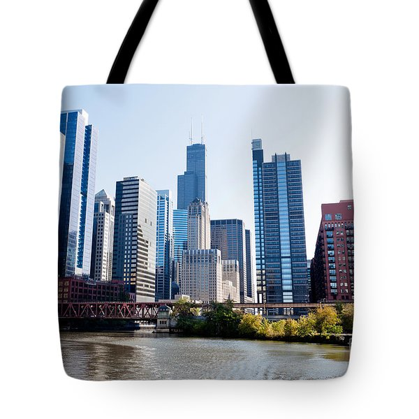 Chicago River Skyline With Sears-willis Tower Tote Bag by Paul Velgos