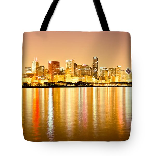 Chicago Skyline At Night Photo Tote Bag by Paul Velgos