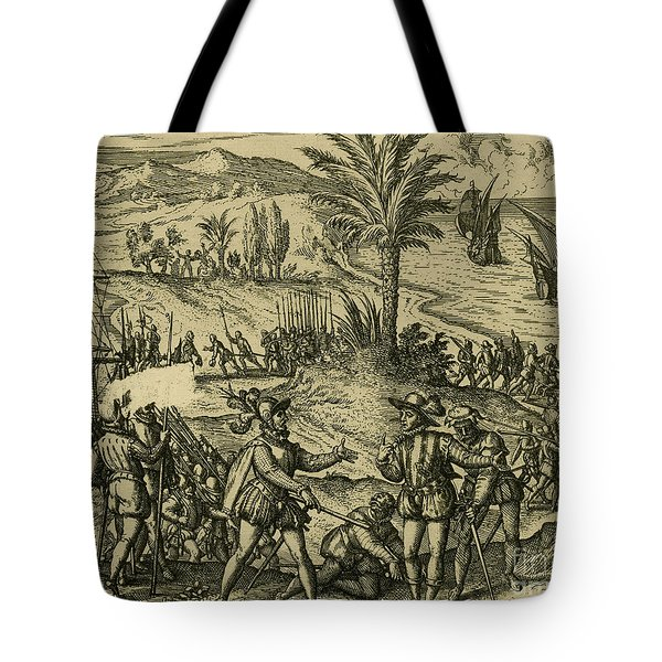 Columbus Arrested Tote Bag by Photo Researchers