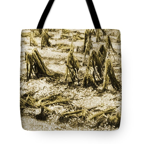 Cornfield After Hailstorm Tote Bag by Science Source
