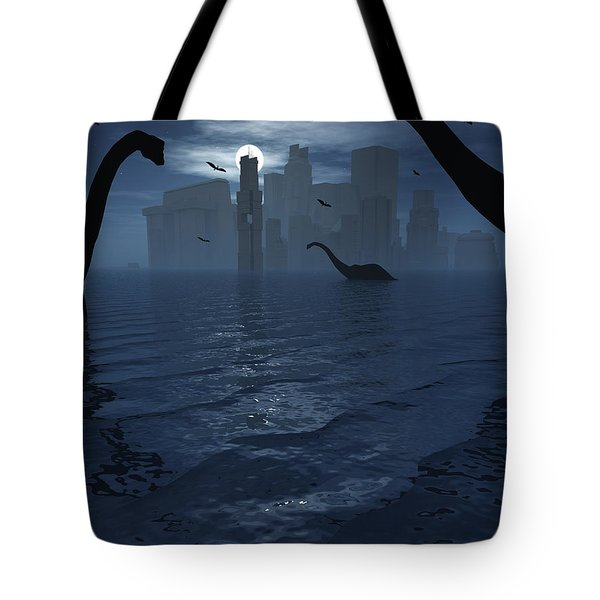 Dinosaurs Feed Near The Shores Tote Bag by Mark Stevenson