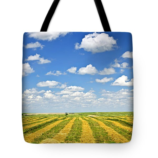 Farm field at harvest in Saskatchewan Tote Bag by Elena Elisseeva