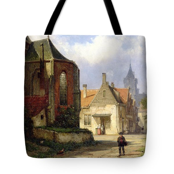 Figure Before A Redbrick Church In A Dutch Town Tote Bag by Willem Koekkoek