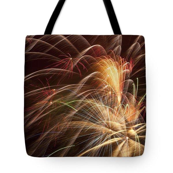 Fireworks in night sky Tote Bag by Garry Gay