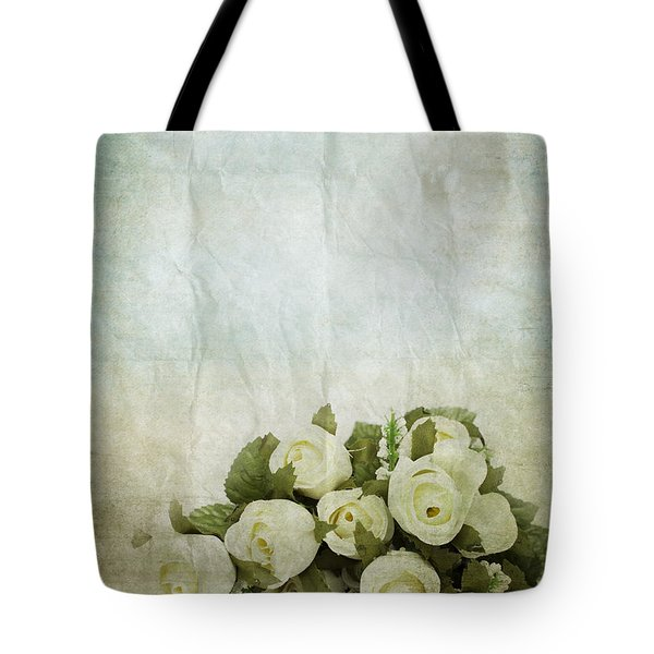 Floral Pattern On Old Paper Tote Bag by Setsiri Silapasuwanchai