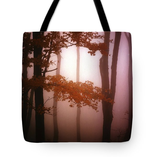 Foggy Misty Trees Tote Bag by Mike Nellums