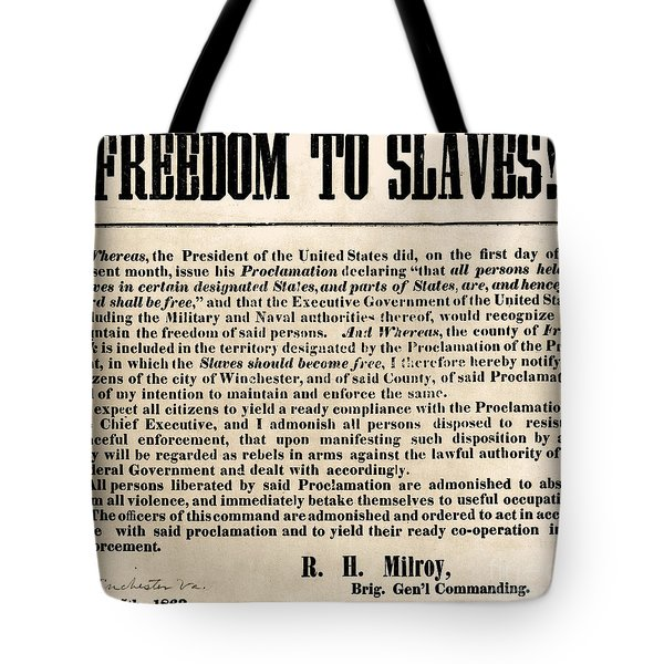 Freedom To Slaves Tote Bag by Photo Researchers, Inc.
