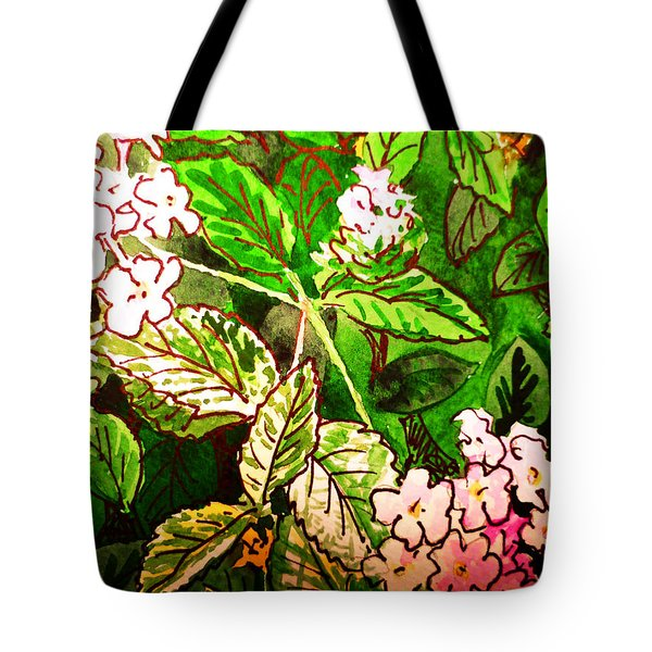 Garden Flowers Sketchbook Project Down My Street Tote Bag by Irina Sztukowski
