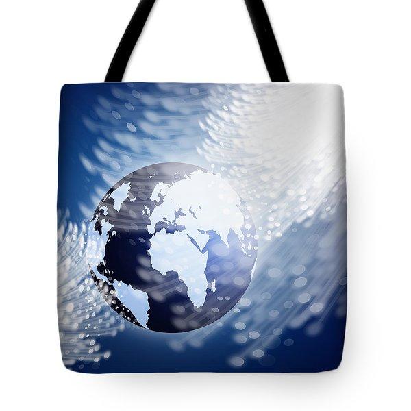 globe with fiber optics Tote Bag by Setsiri Silapasuwanchai